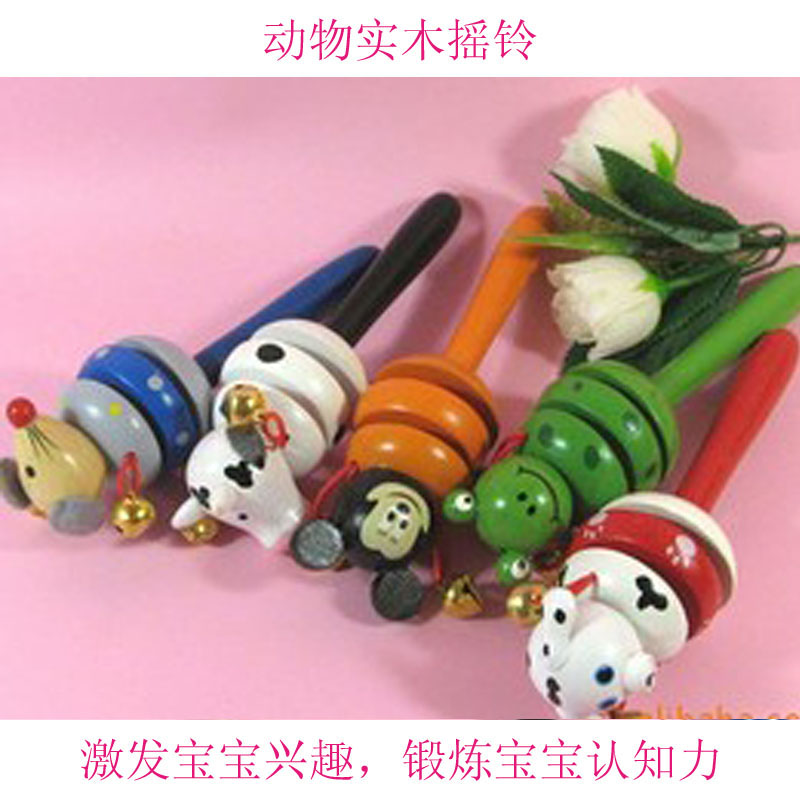 baby solid wood handbell toy