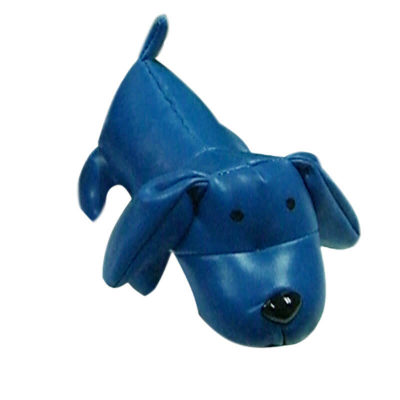 Leather stuffed dog toy