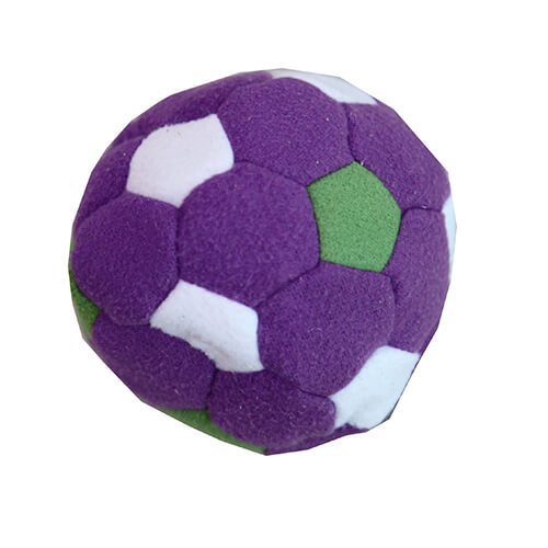 Colorful soccer footbag juggling